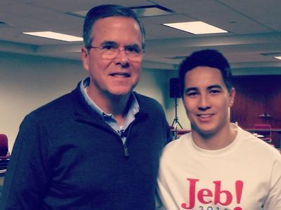 Brain Ferrell '16 with Republican presidential candidate Jeb Bush in Iowa.