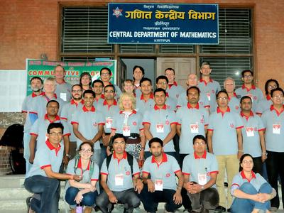 Courtney Gibbons (front row, second from left) attended the International Cumulative Alegebra conference at Tribhuvan University in Kathmandu, Nepal.