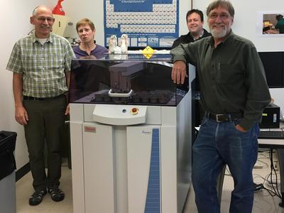 Hamilton Analytical Lab Staff: Sr. Lab Technician Richard Conrey, Lab Technician Laureen Wagoner, Associate Professor of Anthropology Nathan Goodale, and Lab Director of Professor of Geosciences David Bailey