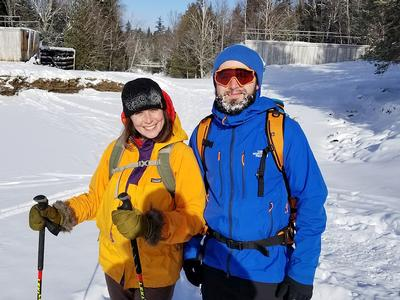 Helena Grant from Connecticut and Brantley Beach from Keene braved the frigid weather in order to play in the winter beauty.