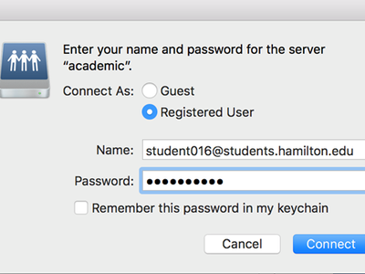 Log in to Academic Server