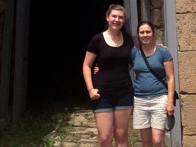 Jessica Williams '18, left, and Anne Feltovich, assistant classics professor, in Greece.