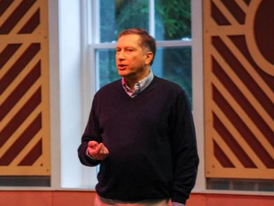 Professor of Physics Gordon Jones speaks in the Fillius Events Barn as part of the