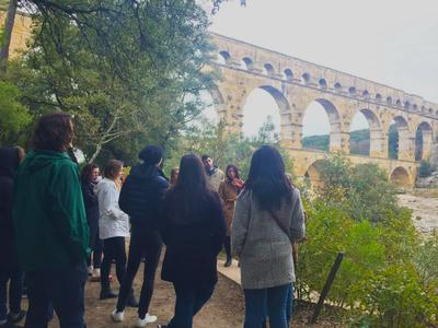 Students viewing the Pont du Gard