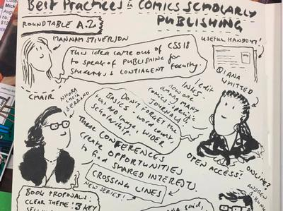 Nhora Serrano in notes from comics roundtable July 2019