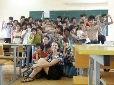 Amelia Mattern '12 and the English class she worked with during her Fulbright teaching assistantship in Vietnam