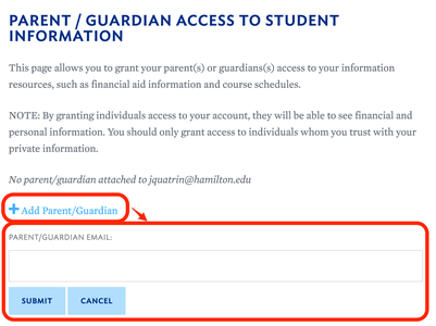 Parent Access: Student Grant Access Home Screen with Form Annotated