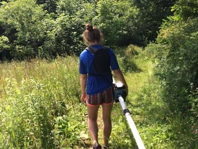 As part of her summer research mapping the path of salt pollution in an aquifer, Elise LePage '18 used this electromagnetic ground conductivity meter. Dissolved salt increases the conductivity of groundwater.