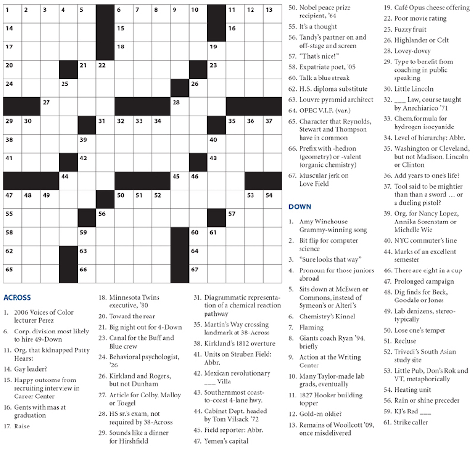 This is a picture of Persnickety Crossword Puzzles for High School Students Printable