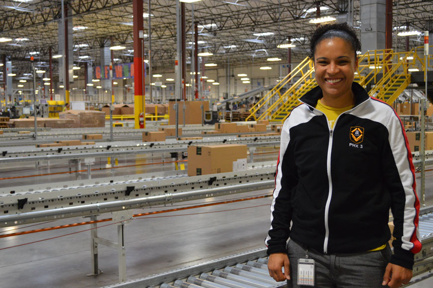 Female in Amazon Fulfillment Center
