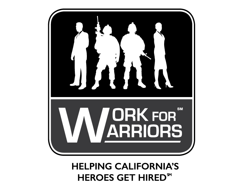 Logo of sillottes of Soldiers with weapos and helmets in between a man and a woman in business suits