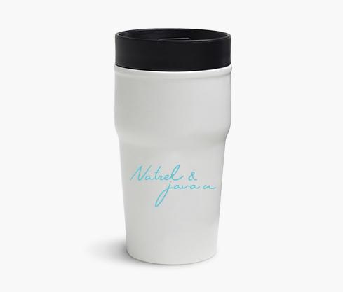 La tasse voyage Natrel & java u – Blanc/Turquoise