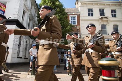 Soldiers from 142 Vehicle Squadron March through Banbury High Street