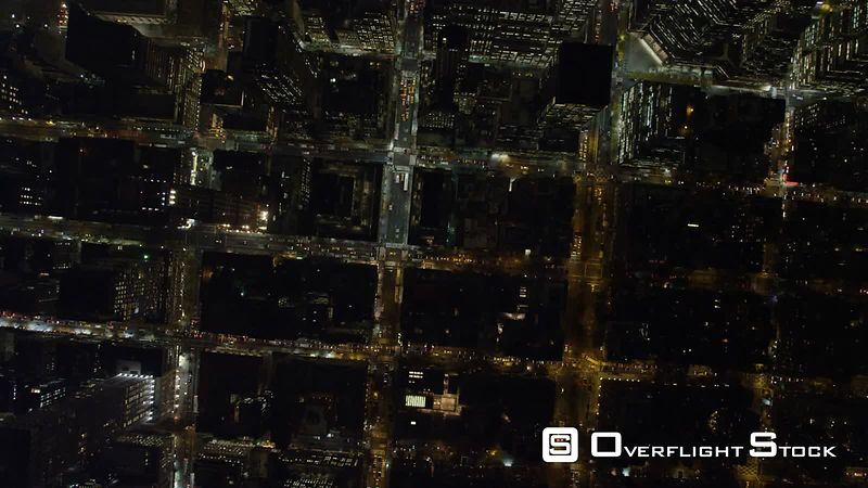 Looking straight down on Midtown Manhattan near Rockefeller Center at night.