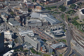 Sheffield aerial photograph looking across Hallam University buildings Arundel Gate towards Sheffield Bus Interchange and Pond Hill and Park Square