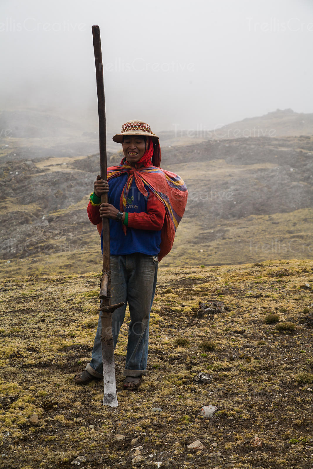 Kechwa farmer returning from the fields, Lares Trek, Andes Mountains, Peru