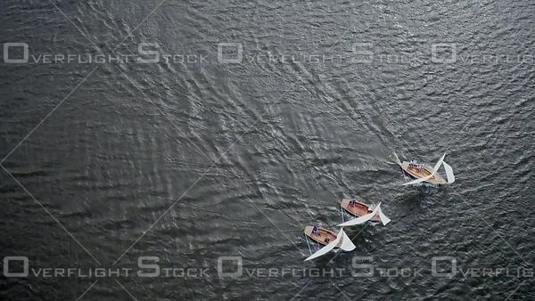 Sailing Boats Racing on a Norfolk Broad United Kingdom