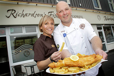Best Fish & Chip Shop in the North West Award - National Fish & Chips Awards.Richardsons Fish Bar, Fleetwood, 25.09.12.L-R  Jenny and Chris Richardson