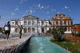 Municipal Theatre and fountains , Plaza Prat , Iquique , Region I , Chile