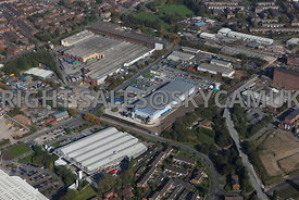 Oldham aerial photograph of waste recycling centre Arkwright Street and Lansdowne road area of Chadderton Oldham
