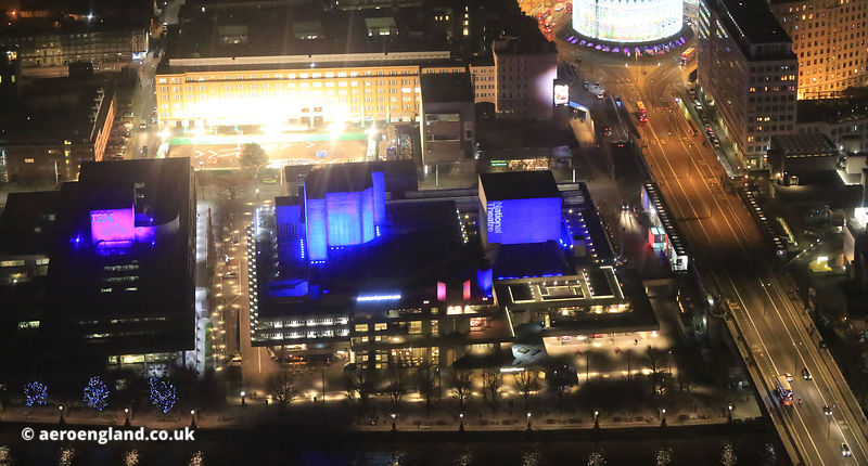 the National Theatre building London  night. aerial photograph