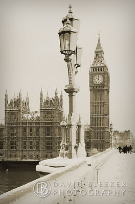 Westminster bridge in winter- Sepia