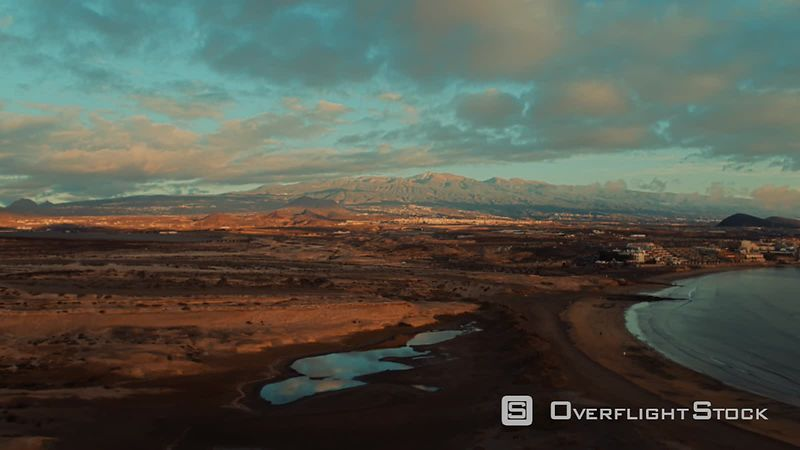 South Tenerife view with Teide and Coast filmed by drone
