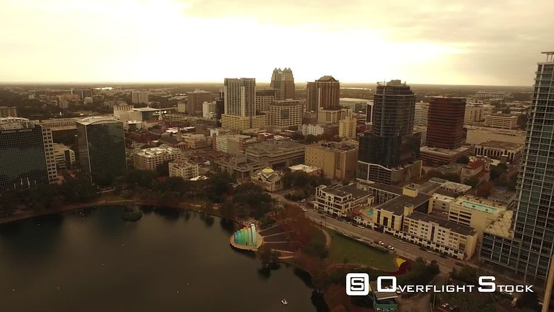 Lake Eola Aerial Downtown Orlando Florida