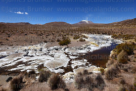 Mineral stained rocks next to stream and Guallatiri volcano, Las Vicuñas National Reserve, Region XV, Chile