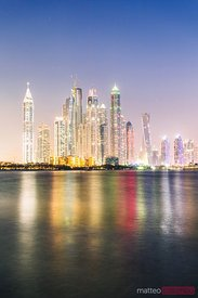 Dubai marina skyline at dusk, United Arab Emirates