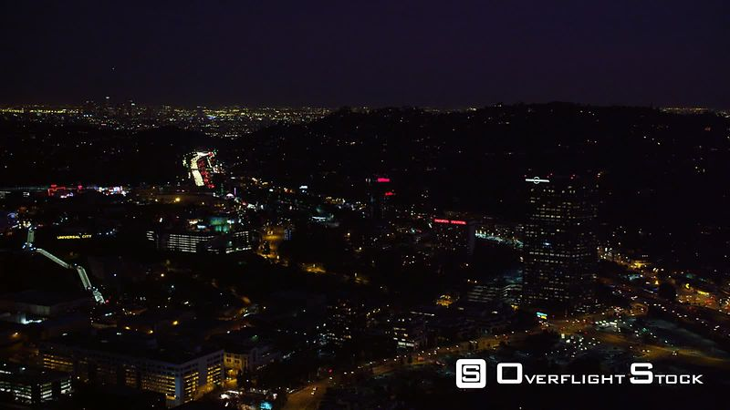 Over Universal City, California, at night. Shot in October