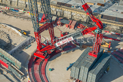 Aerial view of London, close up of crane on building site.