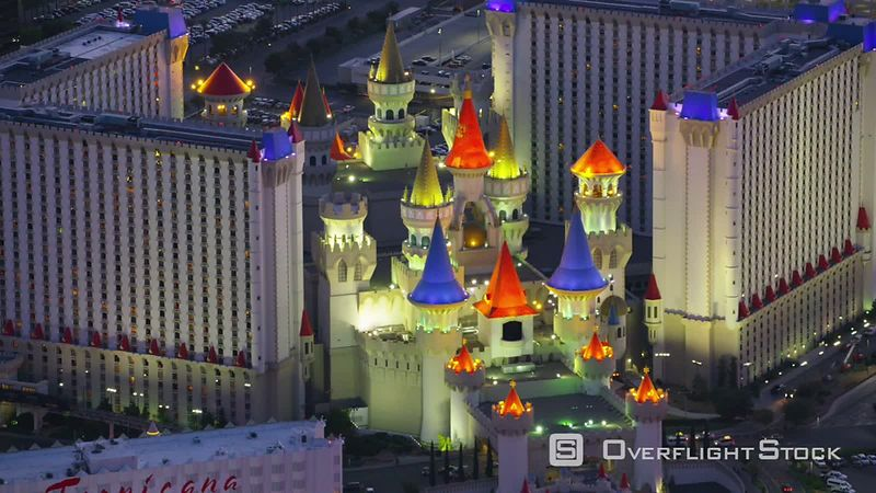 Las Vegas, Nevada Aerial view of Excalibur hotel.  Shot with Cineflex and RED EpicW Helium.