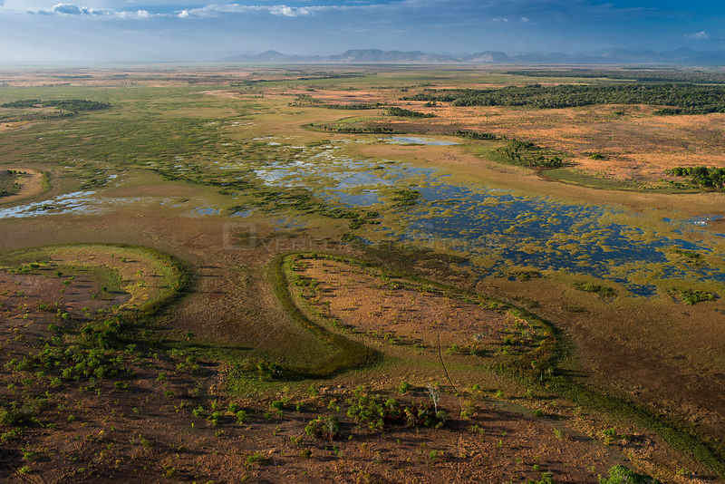 Aerial view of flooded Rupununi savanna, Guyana, South America