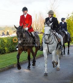 Frank Herrick, Jimmy Couldrey leaving the meet - The Quorn at Barrowcliffe Farm
