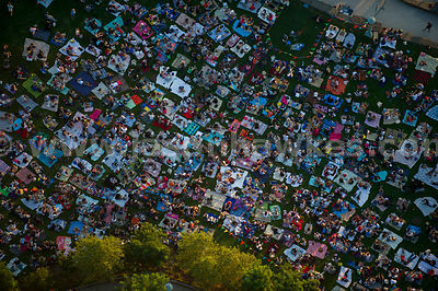 Aerial view of a people at an outside cinema in New York