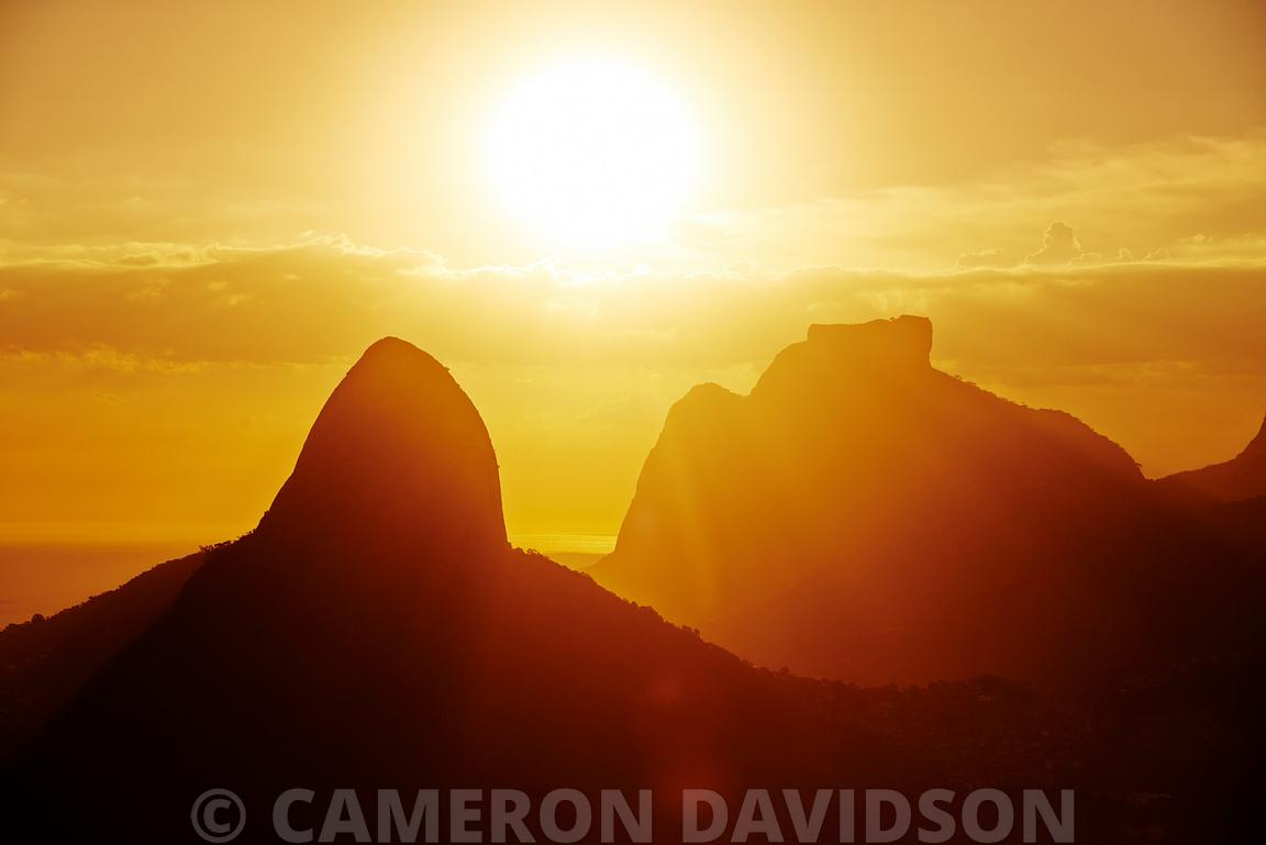 Aerial photo of sunrise over Sugarloaf Mountain near Rio de Janeiro