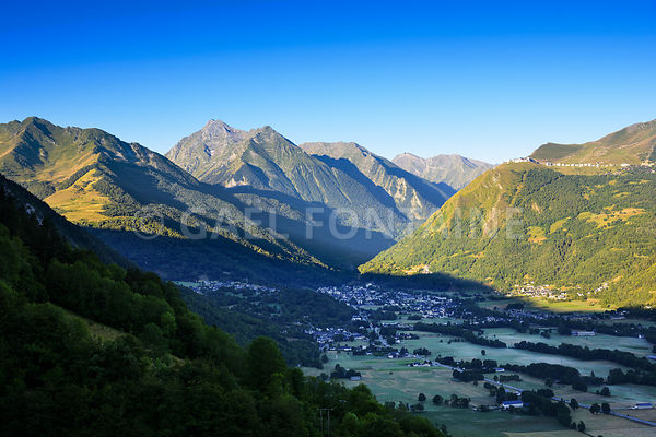Saint Lary Soulan city and ski station and his valley with first lights of the day   5988 x 3989 large
