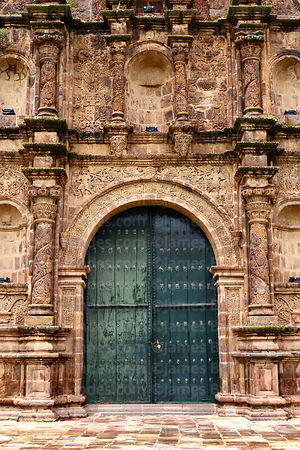 Main side entrance facade of St John the Baptist of Letrán / San Juan Bautista de Letrán church, Juli, Puno Region, Peru