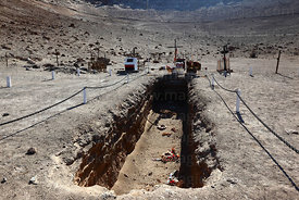 Mass grave in cemetery where the bodies of political prisoners executed in 1973 / 1974 during the military dictatorship were discovered on 2 June 1990 , Pisagua , Region I , Chile