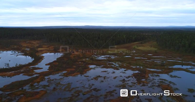 Swamp, Aerial View Over a Big Wet Bog, in Lapland Pyhaluosto National Park, on a Cloudy Autumn Day, in Lappi, Finland