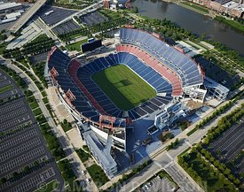 Aerial photograph of LP field in Nashville, Tennessee also called Nissan Stadium