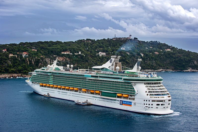 Cruise ship MS Liberty of the Seas of Royal Caribbean International, docked in Nice on French Riviera, France, Europe. October 2014.
