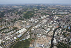 Sheffield wide angle view looking up the Don Valley towards Meadowhall and the M1 motorway