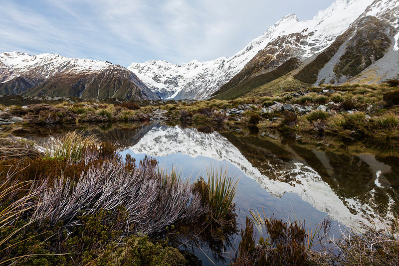 Reflections of Mt Sefton in a Hooker Valley Tarn