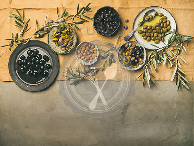 Flat-lay of mediterranean meze olives appetizers, copy space