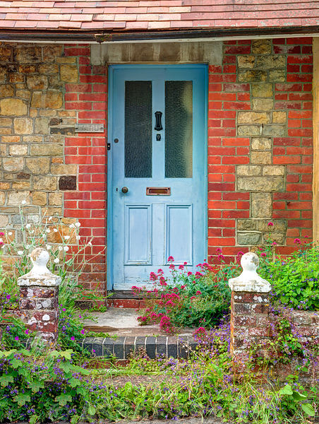Front door of cottage in countryside