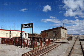 Railway station at Colchani, near Uyuni, Bolivia