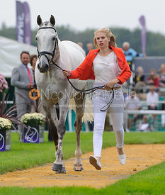 Gina Ruck and REHY TOO - The first vets inspection (trot up),  Land Rover Burghley Horse Trials, 3rd September 2014.