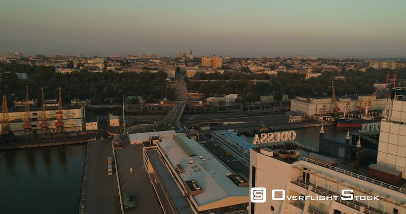 Drone flies over the Odessa Hotel at sunrise to reveal the city skyline. Ukraine